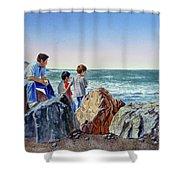 Boys And The Ocean Shower Curtain