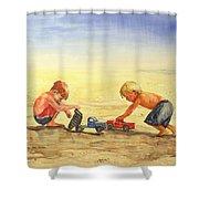 Boys And Trucks On The Beach Shower Curtain