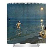 Boys Bathing At Skagen. Summer Evening Shower Curtain