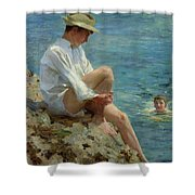 Boys Bathing Shower Curtain