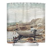 Boys On The Beach Shower Curtain by Winslow Homer
