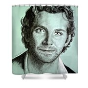 Bradley Cooper Charcoal Portrait Shower Curtain
