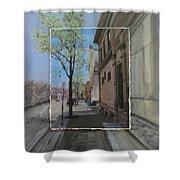 Brady Street With Tree Layered Shower Curtain