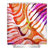 Brain Coral Abstract 6 In Orange Shower Curtain