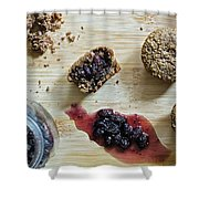 Bran Muffins With Mulberry Jam Shower Curtain