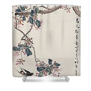 Branch Magpie Painting Shower Curtain