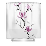 Branch Of Blooming Purple Magnolia Flowers Japanese Zen Sumi-e P Shower Curtain