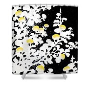 Branches Of White Yellow Leaves And Flowers At Night, Black Background Shower Curtain