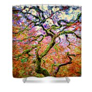 Branching Out In Autumn Neon Shower Curtain
