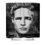 Brando Odyssey Black And White Shower Curtain