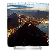 Brasil,rio De Janeiro,pao De Acucar,viewpoint,panoramic View,copacabana At Night Shower Curtain by Juergen Held