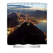 Brasil,rio De Janeiro,pao De Acucar,viewpoint,panoramic View,copacabana At Night Shower Curtain