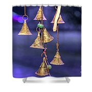 Brass Bells Hanging In The Illuminated Courtyard At Winter Night Shower Curtain