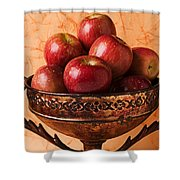 Brass Bowl With Fuji Apples Shower Curtain