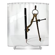 Brass Compass And Pencil Shower Curtain