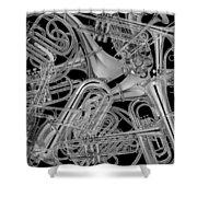 Brass Instruments Bw Shower Curtain