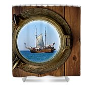 Brass Porthole Shower Curtain by Carlos Caetano