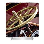 Brass Steering Wheel Shower Curtain