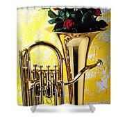 Brass Tuba With Red Roses Shower Curtain