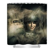 Brave Army Pinup Shower Curtain