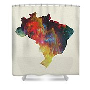 Brazil Watercolor Map Shower Curtain