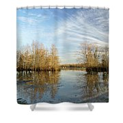 Brazos Bend Winter Reflections Shower Curtain