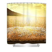 Bread And Wheat Cereal Crops At Sunset Shower Curtain