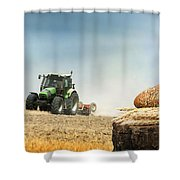 Bread And Wheat Cereal Crops.traktor On The Background Shower Curtain
