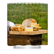 Bread With Butter On Cutting Board Shower Curtain