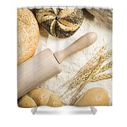 Breads. Pile Of Flour, Rolling Pin And Wheat Shower Curtain