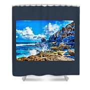 Breakers On The Rocks At Kenridgeview - On - Sea L A S Shower Curtain