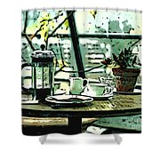 Breakfast Coffee Table Shower Curtain