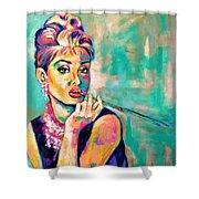Audrey Hepburn Painting, Breakfast At Tiffany's Shower Curtain