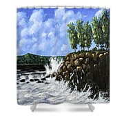 Breaking Waves Painting Shower Curtain