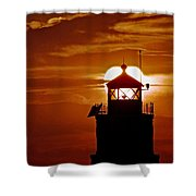 Breakwater Light Sunset Shower Curtain