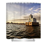 Breakwater Lighthouse Shower Curtain
