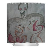 Breast Cancer Monster Shower Curtain