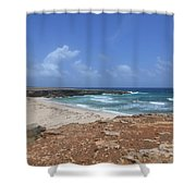 Breathtaking View Of Daimari Beach In Aruba Shower Curtain