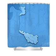 Bremen Bundesland Germany 3d Render Topographic Map Blue Border Shower Curtain