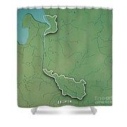 Bremen Bundesland Germany 3d Render Topographic Map Border Shower Curtain