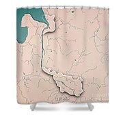 Bremen Bundesland Germany 3d Render Topographic Map Neutral Bord Shower Curtain