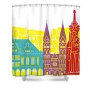 Bremen Skyline Pop Shower Curtain