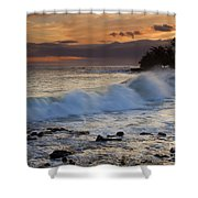 Brennecke Waves Sunset Shower Curtain