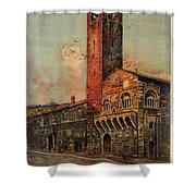 Brescia, Italy - Birds Flying Around Tower - Retro Travel Poster - Vintage Poster Shower Curtain