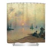 Breton Coastal Landscape At Sunset Shower Curtain