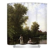 Bricher Boating In The Afternoon Shower Curtain