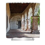 Brick And Stone Arches Line Walkway In Old Mission Ruin Shower Curtain