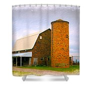 Brick Barn And Silo Shower Curtain
