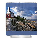 Brick Bell House At Pemaquid Point Light Shower Curtain