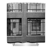 Brick Building Black And White Shower Curtain